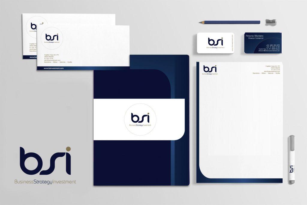 diseño logotipo para BSI y aplicaciones
