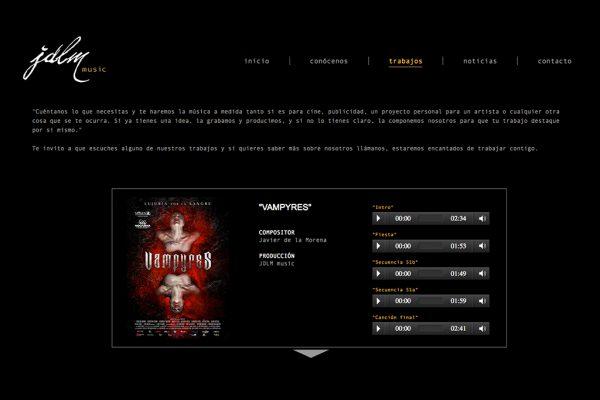 pagina interior de la web de jdlm music
