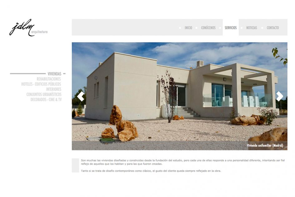 diseño pagina web interior de arquitectos en Madrid